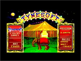 Title screen of Circus Games on the Amstrad CPC.