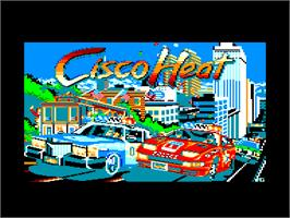 Title screen of Cisco Heat: All American Police Car Race on the Amstrad CPC.