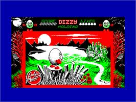Title screen of Dizzy: The Ultimate Cartoon Adventure on the Amstrad CPC.