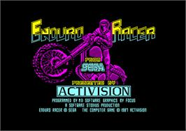 Title screen of Enduro Racer on the Amstrad CPC.