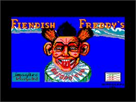 Title screen of Fiendish Freddy's Big Top O' Fun on the Amstrad CPC.