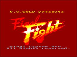 Title screen of Final Fight on the Amstrad CPC.