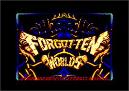 Title screen of Forgotten Worlds on the Amstrad CPC.