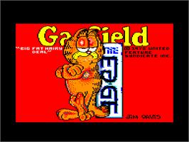 Title screen of Garfield: Big, Fat, Hairy Deal on the Amstrad CPC.