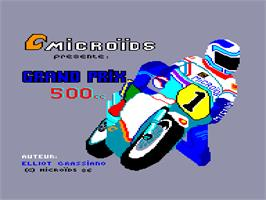 Title screen of Grand Prix 500 2 on the Amstrad CPC.