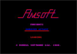 Title screen of Harrier Attack on the Amstrad CPC.