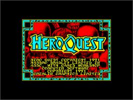 Title screen of Hero Quest on the Amstrad CPC.