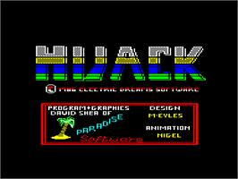 Title screen of Hijack on the Amstrad CPC.
