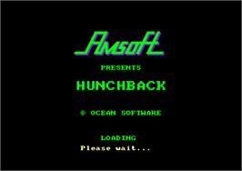 Title screen of Hunchback on the Amstrad CPC.
