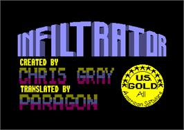 Title screen of Infiltrator on the Amstrad CPC.