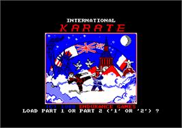 Title screen of International Karate on the Amstrad CPC.