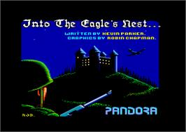 Title screen of Into the Eagle's Nest on the Amstrad CPC.