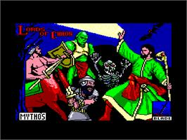 Title screen of Lords of Chaos on the Amstrad CPC.
