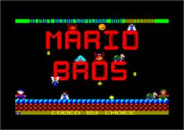 Title screen of Mario Bros. on the Amstrad CPC.