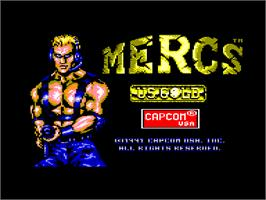 Title screen of Mercs on the Amstrad CPC.
