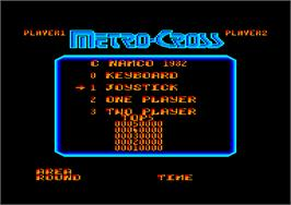 Title screen of Metro-Cross on the Amstrad CPC.