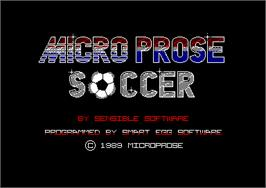 Title screen of Microprose Pro Soccer on the Amstrad CPC.
