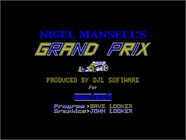 Title screen of Nigel Mansell's Grand Prix on the Amstrad CPC.