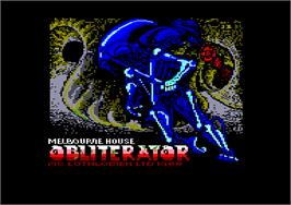 Title screen of Obliterator on the Amstrad CPC.