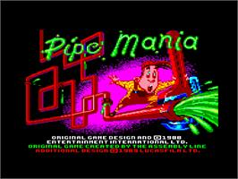 Title screen of Pipe Mania on the Amstrad CPC.
