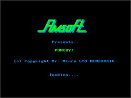 Title screen of Punchy on the Amstrad CPC.
