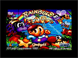 Title screen of Rainbow Islands: The Story of Bubble Bobble 2 on the Amstrad CPC.