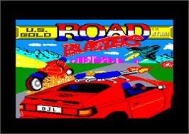 Title screen of Road Blasters on the Amstrad CPC.