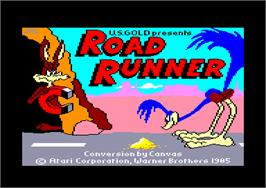 Title screen of Road Runner on the Amstrad CPC.