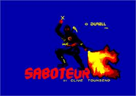 Title screen of Saboteur on the Amstrad CPC.