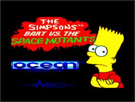 Title screen of Simpsons: Bart vs. the Space Mutants on the Amstrad CPC.