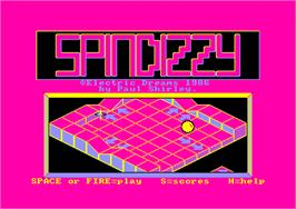 Title screen of Spindizzy on the Amstrad CPC.