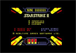 Title screen of Starstrike 2 on the Amstrad CPC.