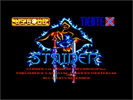 Title screen of Strider 2 on the Amstrad CPC.