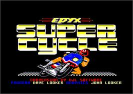 Title screen of Super Cycle on the Amstrad CPC.