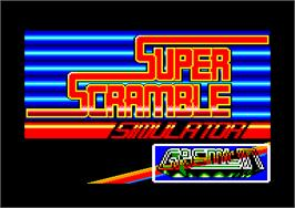 Title screen of Super Scramble Simulator on the Amstrad CPC.
