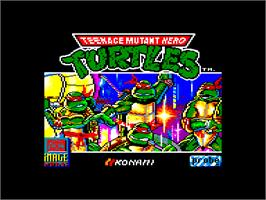 Title screen of Teenage Mutant Ninja Turtles on the Amstrad CPC.
