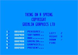 Title screen of Thing on a Spring on the Amstrad CPC.