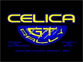 Title screen of Toyota Celica GT Rally on the Amstrad CPC.