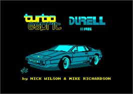 Title screen of Turbo Esprit on the Amstrad CPC.