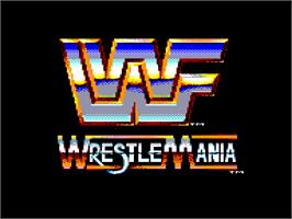 Title screen of WWF Wrestlemania on the Amstrad CPC.