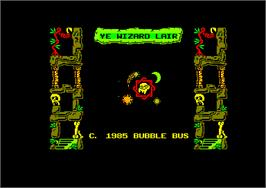 Title screen of Wizard's Lair on the Amstrad CPC.