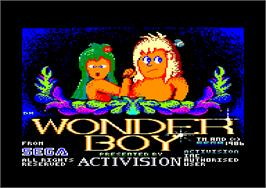 Title screen of Wonder Boy on the Amstrad CPC.
