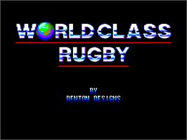 Title screen of World Class Rugby on the Amstrad CPC.