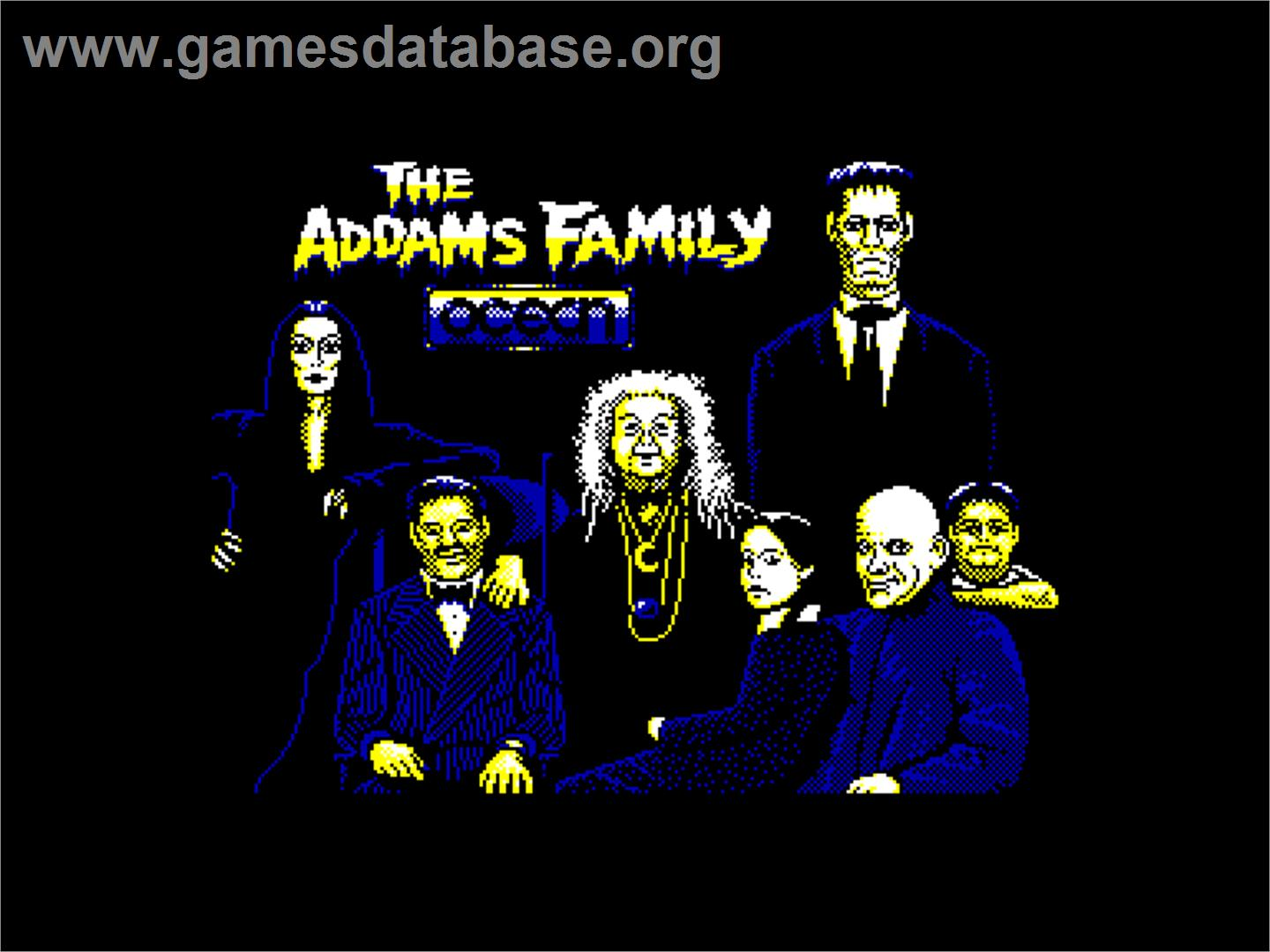 Title screen of Addams Family, The on the Amstrad CPC.