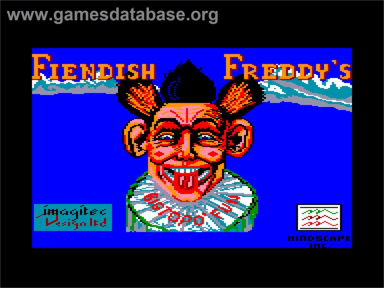 Title screen of Fiendish Freddy's Big Top O' Fun on the Amstrad CPC.