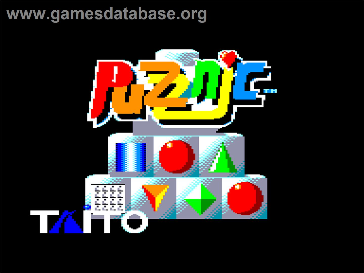 Title screen of Puzznic on the Amstrad CPC.