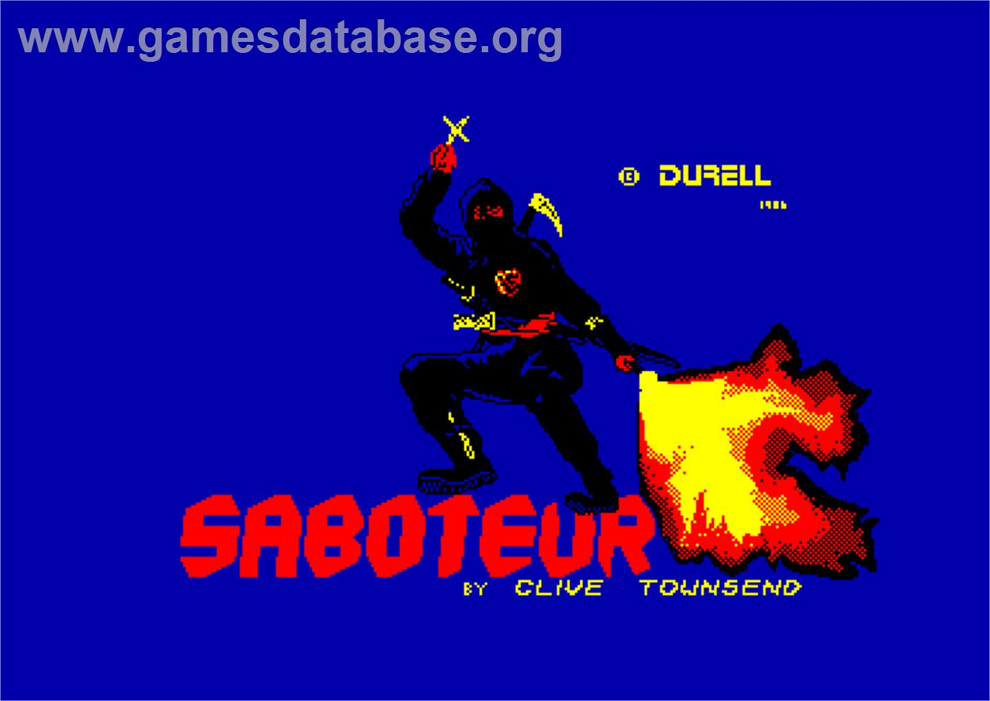 Saboteur - Amstrad CPC - Artwork - Title Screen