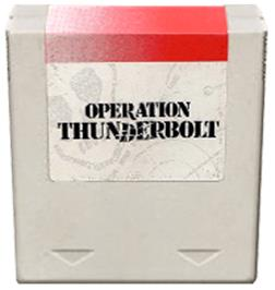 Cartridge artwork for Operation Thunderbolt on the Amstrad GX4000.