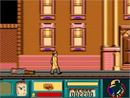 In game image of Dick Tracy on the Amstrad GX4000.