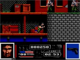 In game image of Navy Seals on the Amstrad GX4000.